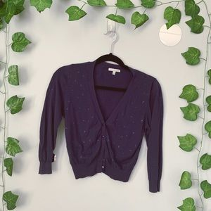 Indigo Cropped Button-up Cardigan